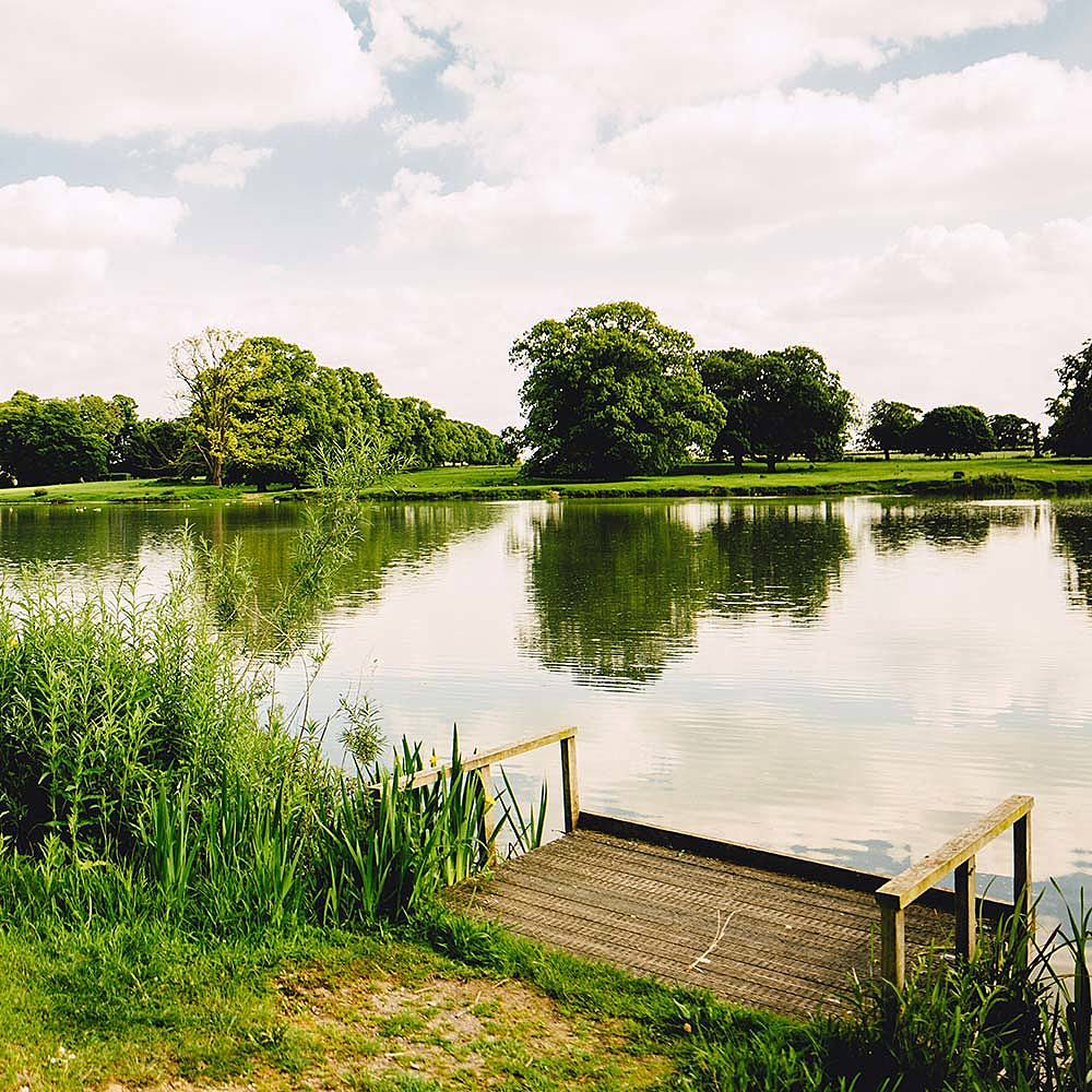 Lake at Riseholme College's Park campus in Lincolnshire