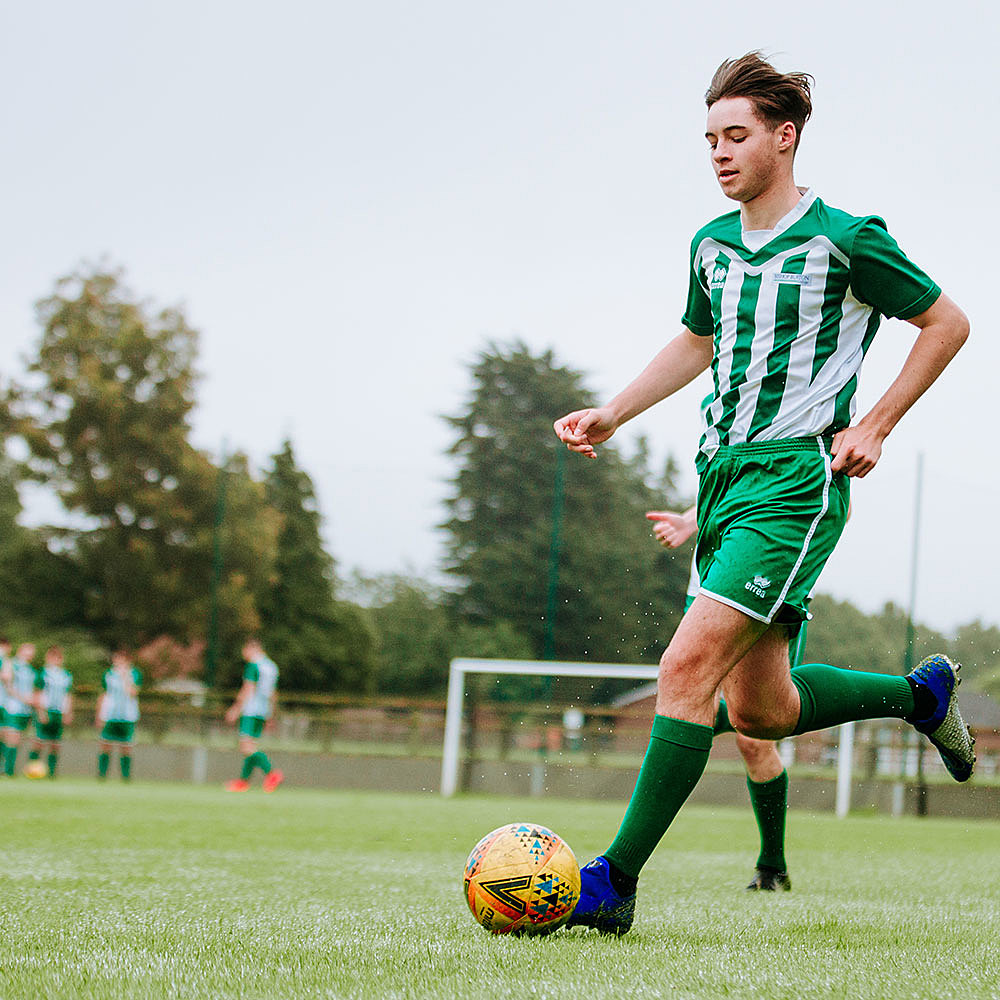 Student on a sport course at Riseholme College playing football