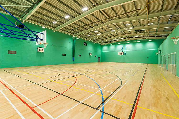 Sports hall to hire at Riseholme College near Lincoln.