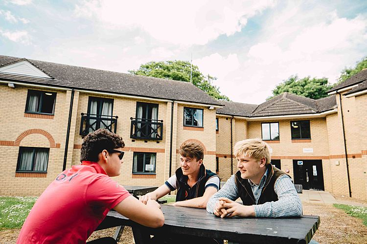 Students socialising outside Riseholme College's Park campus accommodation